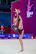 Telegina Yuliana during qualifying at clubs in Pesaro World Cup 14 April, 2018. Yuliana is an Israeli rhythmic gymnast born in 2002.