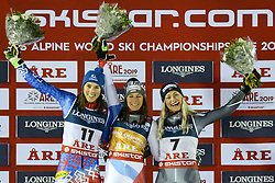 February 8, 2019 - Are, Sweden - PETRA VLHOVA of Slovakia (left) , WENDY HOLDENER of Switzerland (center) and RAGNHILD MOWINCKEL of Norway  after the Ladies Alpine Combined ski race at the FIS Alpine World Ski Championships in Are Sweden. (Credit Image: © Christopher Levy/ZUMA Wire)