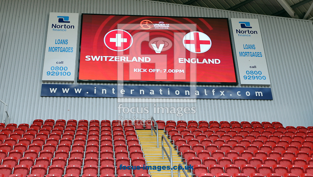 The scoreboard at the  New York Stadium prior to the UEFA Euro U17 Championship match at the New York Stadium, Rotherham<br /> Picture by Simon Moore/Focus Images Ltd 07807 671782<br /> 10/05/2018