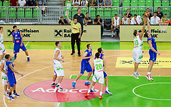Miha Zupan of Slovenia vs Mirza Teletovic of Bosnia during basketball match between National teams of Slovenia and Bosna and Herzegovina in day 1 of Adecco cup, on August  3, 2012 in Arena Stozice, Ljubljana, Slovenia. (Photo by Vid Ponikvar / Sportida.com)