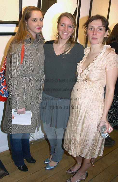 Left to right, DAISY DE VILLENEUVE, LAURA PARKER BOWLES and artist NATASHA LAW at a private view of artist Natasha Law's work entitled 'Hold' held at Eleven, 11 Eccleston Street, London SW1 on 12th January 2006.<br /><br />NON EXCLUSIVE - WORLD RIGHTS
