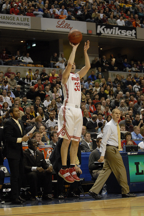 Ohio State forward Jon Diebler (33) puts up a 3-point attempt in the first half of the Big Ten Tournament semifinals in Indianapolis, on March, 11, 2011, at Conseco Fieldhouse. Ohio State defeated Michigan 68-61.