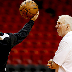 Jun 7, 2013; Miami, FL, USA; San Antonio Spurs head coach Gregg Popovich (right) during practice at the American Airlines Arena. Mandatory Credit: Derick E. Hingle-USA TODAY Sports