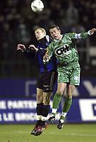 LA LOUVIERE 11/02/2004<br /> VOETBAL / FOOTBALL / SPORT<br /> LA LOUVIERE - CLUB BRUGGE / RAAL - FC BRUGGE / LA LOUVIEROISE - FC BRUGES /<br /> RUNE LANGE - THIERRY SIQUET /<br /> PICTURE BY NICO VEREECKEN<br /> ©PHOTONEWS