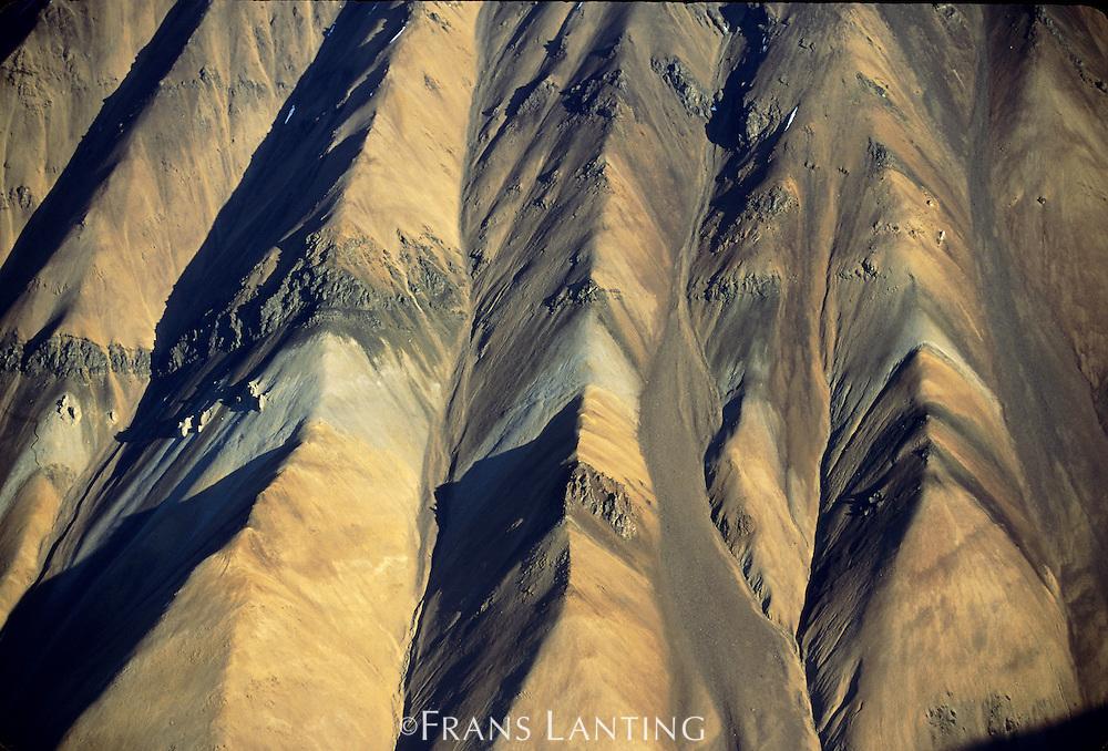 Eroding hills near Walsh Glacier (aerial), Wrangell St Elias National Park,  Alaska