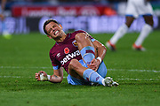 Javier Hernandez of West Ham United (17) in visible pain after appealing for a penalty during the Premier League match between Huddersfield Town and West Ham United at the John Smiths Stadium, Huddersfield, England on 10 November 2018.