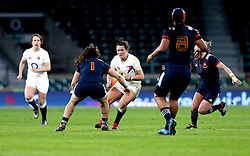 Marlie Packer of England takes on Lise Arricastre of France Women - Mandatory by-line: Robbie Stephenson/JMP - 04/02/2017 - RUGBY - Twickenham - London, England - England v France - Women's Six Nations