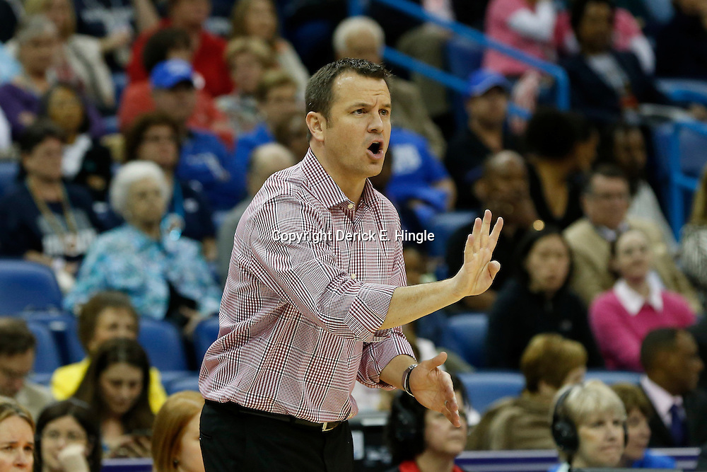 Apr 9, 2013; New Orleans, LA, USA; Louisville Cardinals head coach Jeff Walz instructs against the Connecticut Huskies during the first half of the championship game in the 2013 NCAA womens Final Four at the New Orleans Arena. Mandatory Credit: Derick E. Hingle-USA TODAY Sports