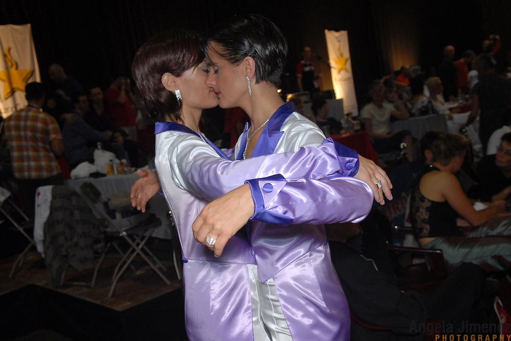 "Claudia Reger, right, and Nadine Dlouhy, the ""Swinging Sisters"" of Cologne, Germany, prepare to compete in the women's standard A division of the same-sex ballroom dancing competition during the 2007 Eurogames at the Waagnatie hangar in Antwerp, Belgium on July 13, 2007. ..Over 3,000 LGBT athletes competed in 11 sports, including same-sex dance, during the 11th annual European gay sporting event. Same-sex ballroom is a growing sports that has been happening in Europe for over two decades."