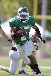 08 September 2012:  Devonte Jones during an NCAA division 3 football game between the Alma Scots and the Illinois Wesleyan Titans which the Titans won 53 - 7 in Tucci Stadium on Wilder Field, Bloomington IL
