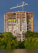 New building construction on Town Lake, Austin, Texas.