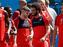 CHARLOTTE, USA - Saturday, July 21, 2018: Liverpool's Alberto Moreno and Mohamed Salah during a training session at the Bank of America Stadium ahead of a preseason International Champions Cup match between Borussia Dortmund and Liverpool FC. (Pic by David Rawcliffe/Propaganda)