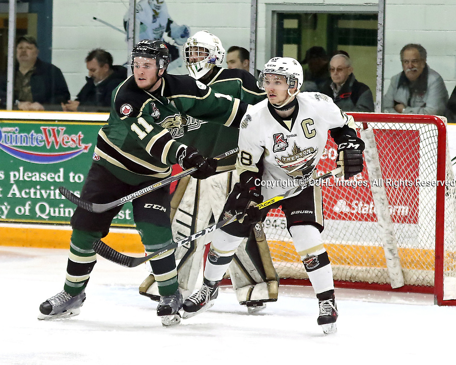 TRENTON, ON - APR 4,  2017: Ontario Junior Hockey League North East Conference Championship game between  Trenton Golden Hawks and the Cobourg Cougars, Lucas Brown #28 of the Trenton Golden Hawks battles for position in front of the net against Sam Dunn #11 of the Cobourg Cougars during the first period<br /> (Photo by Ed McPherson / OJHL Images)