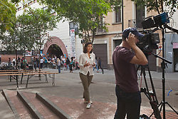 &copy; Licensed to London News Pictures. 26/04/2016. BARCELONA, SPAIN.  <br /> CNN filming Families and friends occupying the CEIP Josep Maria Jujol school that will be used as polling  stations for the independence referendum that is set to take place on Sunday 1st October 2017. The government have told the police to close down the schools at 0600 hours on the 1st October.  The Spanish government have deemed the referendum illegal and against the constitution of Spain.<br /> Photo credit: RICH BOWEN/ LNP