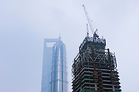 skyscraper under construction in Shanghai China