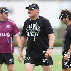 DURBAN, SOUTH AFRICA - MARCH 12:  Gary Gold (Sharks Director of Rugby) during the Cell C Sharks training session and press conference at Growthpoint Kings Park on March 12, 2015 in Durban, South Africa. (Photo by Steve Haag/Gallo Images)