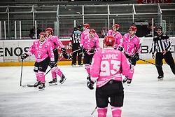 DJUMIC Mirko and SODJA Jaka during Alps Hockey League match between HC Pustertal and HDD SIJ Jesenice, on October 3, 2019 in Ice Arena Podmezakla, Jesenice, Slovenia. Photo by Peter Podobnik / Sportida