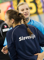 Iris Guberinic and Barbara Varlec Lazovic of Slovenia during handball match between Women National Teams of Slovenia and Czech Republic of 4th Round of EURO 2012 Qualifications, on March 25, 2012, in Arena Stozice, Ljubljana, Slovenia. (Photo by Vid Ponikvar / Sportida.com)