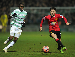 Yeovil Town's Nathan Smith battles for the ball with Manchester United's Ander Herrera  - Photo mandatory by-line: Joe meredith/JMP - Mobile: 07966 386802 - 04/01/2015 - SPORT - football - Yeovil - Huish Park - Yeovil Town v Manchester United - FA Cup - Third Round