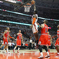 12 March 2012: New York Knicks power forward Amare Stoudemire (1) dunks the ball during the Chicago Bulls 104-99 victory over the New York Knicks at the United Center, Chicago, Illinois, USA.