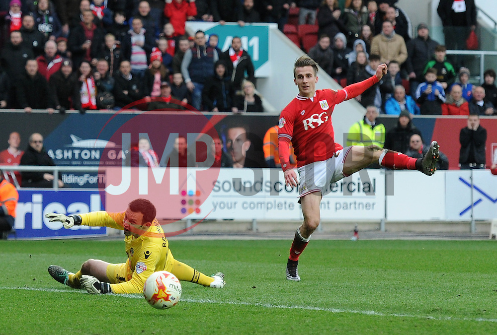 Joe Bryan of Bristol City scores to make it 6-0 - Mandatory byline: Dougie Allward/JMP - 19/03/2016 - FOOTBALL - Ashton Gate - Bristol, England - Bristol City v Bolton Wanderers - Sky Bet Championship