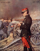 General Joseph Gallieni (1849-1916) French army officer, trained at the St-Cyr military academy.  Retired in 1914 but recalled at the outbreak of the First World War. Retired due to ill health in March 1916. Afte the picture by Ferdinand Roybet (1840-1920).