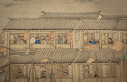 © Licensed to London News Pictures. 23/10/2013. London, UK. A detailed picture of daily life in 1700's China is seen on 'Prosperous Suzhou' (1759) a panorama by Xu Yang at the press view for 'Masterpieces of Chinese Painting 700 - 1900' at the museum in London today (23/10/2013). The exhibition, running from the 26th of October 2013 to the 19th of January 2014, features some of the finest examples of Chinese painting created over a 1200 year period. Photo credit: Matt Cetti-Roberts/LNP