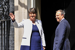 © Licensed to London News Pictures. 13/06/2017. London, UK.  Democratic Unionist Party leader Arlene Foster arrives at Downing Street to hold discussions with Prime Minister Theresa May to strike a deal to allow the Conservatives government following the General Election which resulted in a hung Parliament. Photo credit : Stephen Chung/LNP
