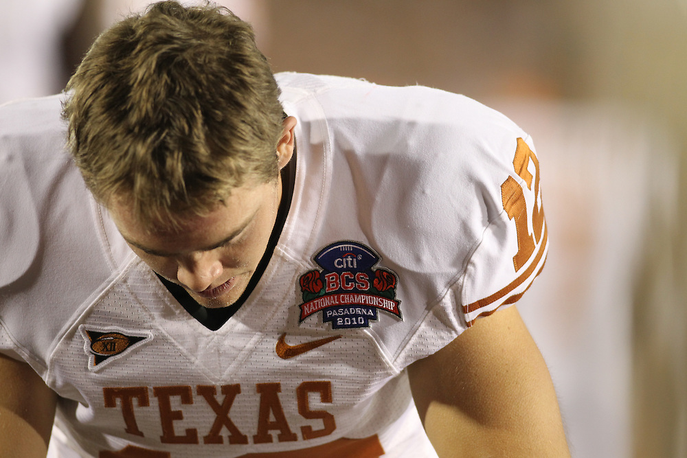 PASADENA,CA - JANUARY 07: Colt McCoy #12 of the Texas Longhorns before the game against the Alabama Crimson Tide. The Crimson Tide defeated the Longhorns 37-21 in the Citi BCS National Championship game on January 7, 2010 at the Rose Bowl in Pasadena, CA.  Photo by Tom Hauck. PLAYER:Colt McCoy