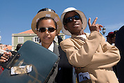 Young men, dressed as businesspeople. Carnival. Mindelo. Cabo Verde. Africa.