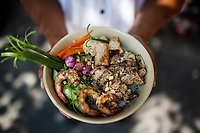 Rice noodles with grilled pork, shrimp, and fish springrolls--a house specialty--at Mai Fish, in Hoi An, Vietnam.