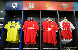 BANGKOK, THAILAND - Sunday, July 12, 2015: Liverpool, Chelsea, Manchester United and Arsenal shirts on sale at Central World Mall ahead of the team's arrival in Thailand for the start of the club's preseason tour. (Pic by David Rawcliffe/Propaganda)