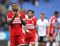 Britt Assombalonga of Middlesbrough applauds the fans at the final whistle - Mandatory by-line: Jack Phillips/JMP - 09/09/2017 - FOOTBALL - Macron Stadium - Bolton, England - Bolton Wanderers v Middlesbrough - English Football League Championship