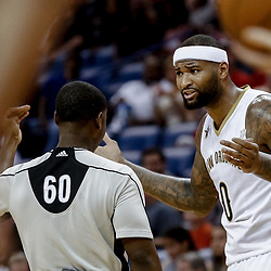 Mar 19, 2017; New Orleans, LA, USA; New Orleans Pelicans forward DeMarcus Cousins (0) argues with referee James Williams (60) after a foul is called during the first quarter of a game against the Minnesota Timberwolves at the Smoothie King Center. Mandatory Credit: Derick E. Hingle-USA TODAY Sports