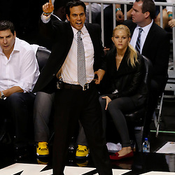 Jun 6, 2013; Miami, FL, USA; Miami Heat head coach Erik Spoelstra reacts on the sideline against the San Antonio Spurs in the second quarter during game one of the 2013 NBA Finals at the American Airlines Arena. Mandatory Credit: Derick E. Hingle-USA TODAY Sports