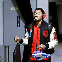 09 February 2014: Chicago Bulls point guard Derrick Rose (1) arrives at the arena prior to the Chicago Bulls 92-86 victory over the Los Angeles Lakers at the Staples Center, Los Angeles, California, USA.