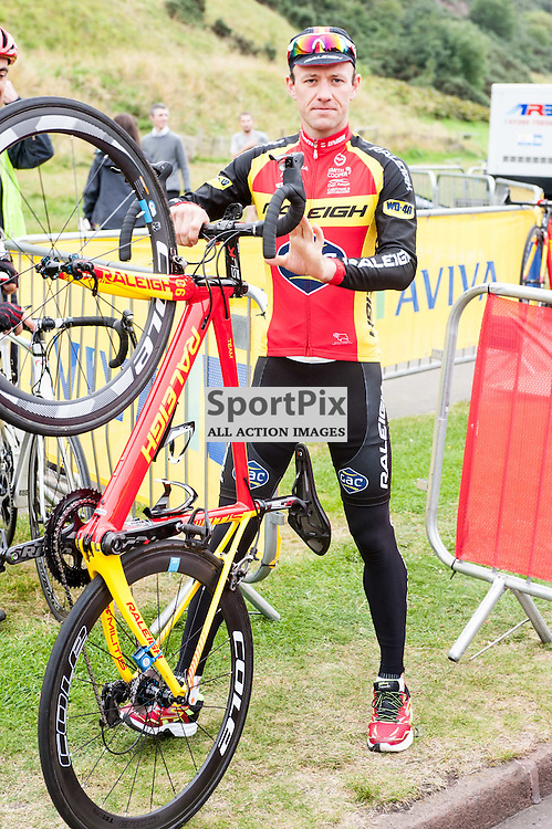 Local Scottish rider Evan Oliphant of Team Raleigh prepares for Stage 4 of the Aviva Tour of Britain, 9 September 2015. (c) Paul J Roberts / Sportpix.org.uk