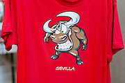 Red T-shirt with bull image in Sevilla (Spain)