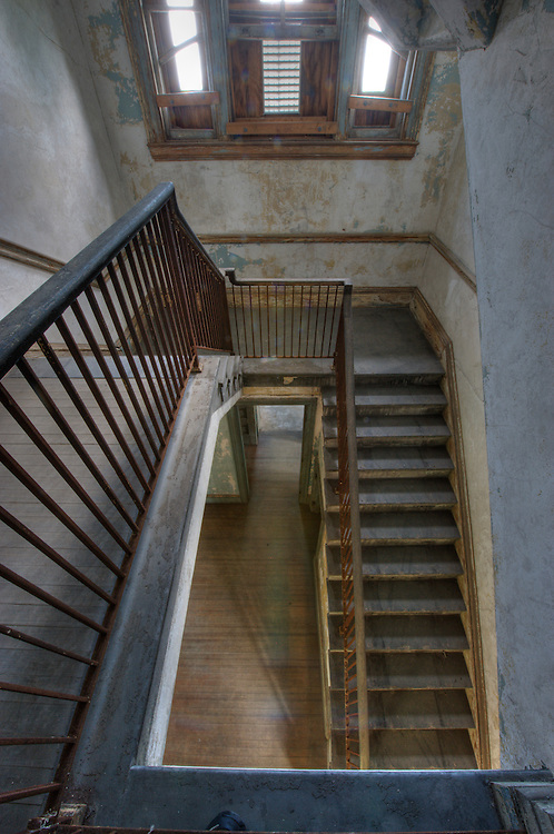 Second floor staircase at one of the infectious disease wards on the south side of Ellis Island, New York (US).