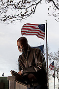 "New York, NY - November 05, 2013 : Veteran Scott Riley at the New York City Vietnam Veterans Memorial Plaza in New York, NY on November 05, 2013. Vet Scott Riley spent 30 years after her came back from Vietnam as a drug addict. Then he got clean and wrote a book--""Grace in the Wilderness"" with his two daughters."