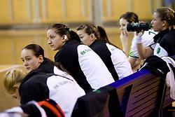 Players of Olimpija during handball match of 1st Slovenian women league Liga Z dezele between RK Olimpija Ljubljana and RK Piran on January 27, 2011 in Arena Tivoli, Ljubljana, Slovenia.  (Photo By Vid Ponikvar / Sportida.com)