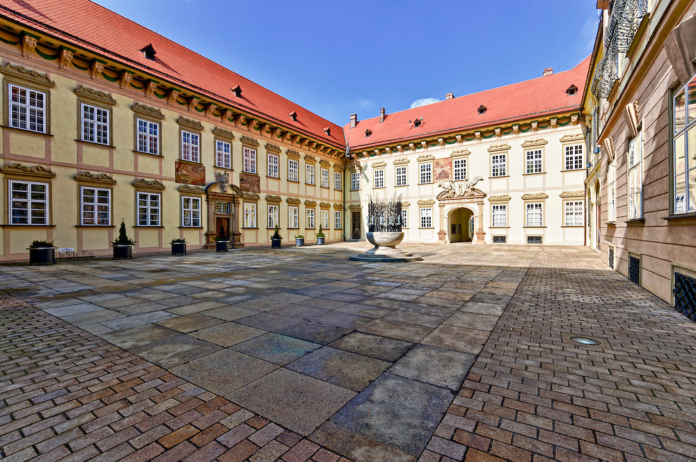 View of the main patio and courtyard in the entrance of the New Town Hall in Brno, in the Czech Republic. Brno is the 2nd largest city in the Czech Republic and a very popular tourist destination.