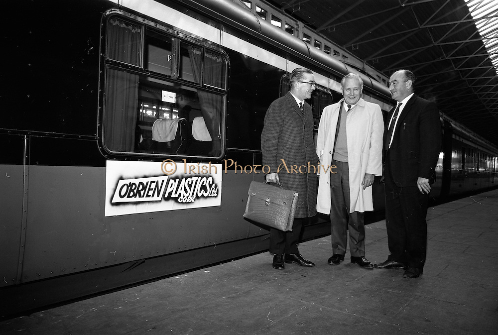 16/11/1966<br /> 11/16/1966<br /> 16 November 1966<br /> Personnel of O'Brien Plastics Ltd., Bishopstown, Cork at Heuston Station, Dublin. Pictured (l-r): Alderman Sean Casey, Lord Mayor of Cork; Mr. Edwin Van der Bark, Phillips Petroleum Co. and Mr. William O'Brien of O'Brien Plastics.