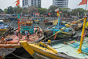 Fishing boats at the Sassoon Docks in Mumbai, India