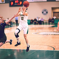 2nd year guard, Faith Reid (13) of the Regina Cougars during the Women's Basketball Home Game on Thu Feb 14 at Centre for Kinesiology,Health and Sport. Credit: Arthur Ward/Arthur Images