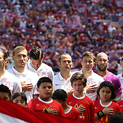 The USA team line sind the National Anthem before the US Men's National Team Vs Turkey friendly match at Red Bull Arena.  The game was part of the USA teams three-game send-off series in preparation for the 2014 FIFA World Cup in Brazil. Red Bull Arena, Harrison, New Jersey. USA. 1st June 2014. Photo Tim Clayton