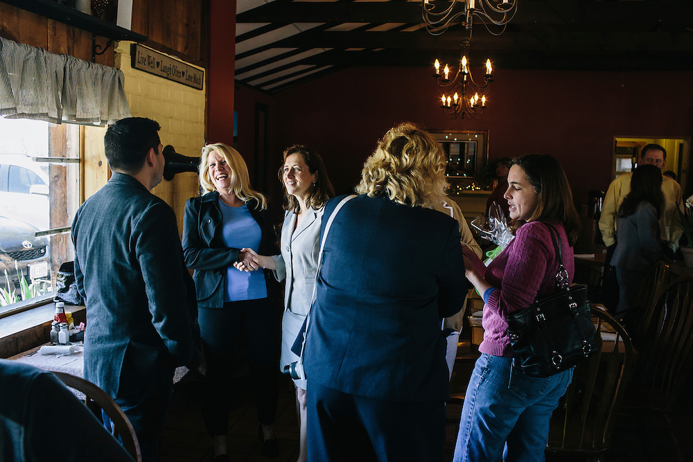 West Virginia Secretary of State Natalie Tennant greets visitors from out of state at O'Neill's Diner in Moorefield, W.V. on Wednesday, April 16, 2014. Tennant is running for a US Senate seat in West Virginia against Republican Rep. Shelley Moore Capito.