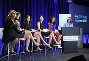 Director Lauren Greenfield, left, speaks during a panel  moderated by actress Maisie Williams, right, at the Always #LikeAGirl Confidence Summit, Tuesday, July 7, 2015, in New York. Joining them, from left to right, are author and educator Rachel Simmons, psychologist Dr. Carissa Romero, TED's Stephanie Lo and 12-year old documentarian Zuriel Oduwole.  Always is partnering with experts to incorporate the latest research on confidence-building into its long-term puberty education program. View the new video at https://youtu.be/VhB3l1gCz2E.  (Photo by Diane Bondareff/AP Images for Always)