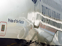 Photo: Chris Ratcliffe.<br />England arrival at Baden Airpot. 05/06/2006.<br />Pride of a Nation is emblazoned on England's plane as England land at Baden Baden.