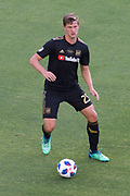 Los Angeles FC defender Walker Zimmerman (25) passes the ball during a MLS soccer match in the inaugural game at Banc of California Stadium in Los Angeles, Sunday, April 29, 2018. LAFC defeated the Sounders 1-0. (Eddie Ruvalcaba/mage of Sport)